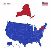 The State Of New York Is Highlighted In Red. Blue Vector Map Of The United States Divided Into Separ poster