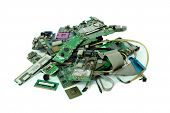 Pile Of Electronic Waste, Motherboard Computer, Electronic Equipment, Printed Circuit Board, Isolate poster