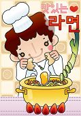 Cute Smiling Young Chef with Tasty and Spicy Ramen noodles in a snack bar - Korean Words : 'Yummy Ramyon poster