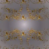 Traditional Orient Ornament. Seamless Pattern On Neutral And Gray Colors With Golden Elements. Class poster