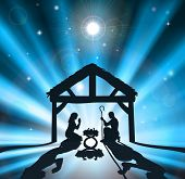 pic of manger  - Christian Christmas nativity scene of baby Jesus in the manger with the virgin Mary and Joseph - JPG