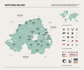Vector Map Of Northern Ireland.  High Detailed Country Map With Division, Cities And Capital Belfast poster