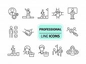 Professional Icons. Line Icons Collection. Employee Search, Business Group, Meeting. Leadership Conc poster
