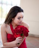 image of matron  - Beautiful Sexy Asian Woman in red dress for Valentines Day or Bridal Party Maid of Honor and Brides Maid - JPG