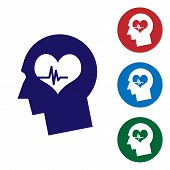Blue Male Head With A Heartbeat Icon Isolated On White Background. Head With Mental Health, Healthca poster