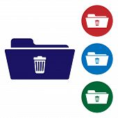 Blue Delete Folder Icon Isolated On White Background. Folder With Recycle Bin. Delete Or Error Folde poster