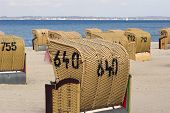 pic of labo  - Hooded beach chairs near Baltic Sea in Germany - JPG