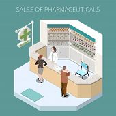 Isolated Pharmaceutical Production Composition With Sales Of Pharmaceuticals Headline And Pharmacy C poster