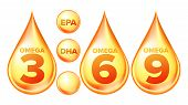 Omega Fatty Acid, Epa, Dha Vector Drops Set. Omega Three, Six And Nine Isolated Cliparts Pack. Natur poster