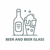 Beer And Beer Glass Line Icon, Vector. Beer And Beer Glass Outline Sign, Concept Symbol, Flat Illust poster