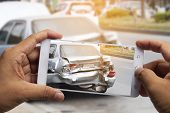 Car Insurance Agents Take Pictures Of Accident-damaged Vehicles With A Smartphone As A Proof Of Insu poster