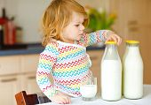 Adorable Toddler Girl Drinking Cow Milk For Breakfast. Cute Baby Daughter With Lots Of Bottles. Heal poster