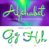 3d Neon Led Alphabet Font. Logo G Letter, H Letter With Rounded Shapes. Matte Three-dimensional Lett poster