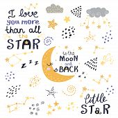 Vector Set Of Night Lettering With Cute Phrases. poster