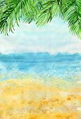 Watercolour Bright Beach Landscape Background With Palm Leaves On Top. Vertical Backdrop For Summer  poster
