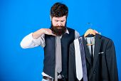 Matching Necktie Outfit. Man Bearded Hipster Hold Neckties And Formal Suit. Perfect Necktie. Shoppin poster
