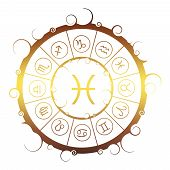 Astrological Symbols In The Circle. Golden Metallic Gradient. Fish Sign poster