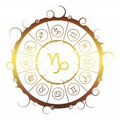 Astrological Symbols In The Circle. Golden Metallic Gradient. Capricorn Sign poster