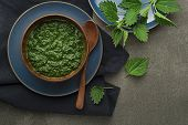 Stinging Cream Nettle Soup Meal. Healthy Food Meal Concept poster
