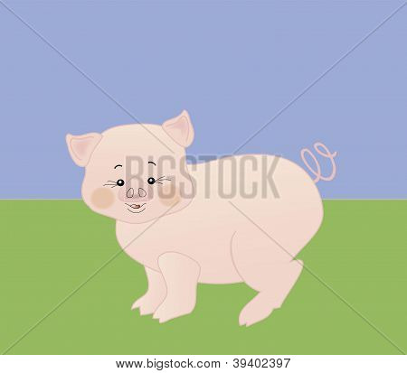 vector little piglet