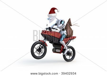 Robot With Santa Hat Riding Motorcycle