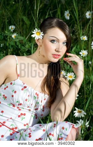 Beautiful Woman In Daisies