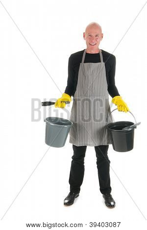 Happy cleaner with bucket and dustpan and brush isolated over white background