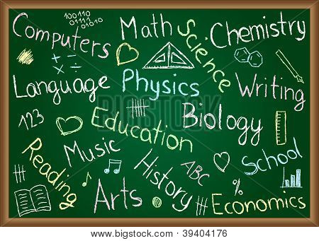 School Subjects And Doodles On Chalkboard