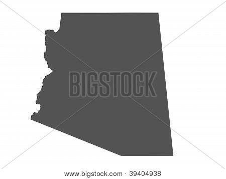 Map of Arizona - USA - nonshaded