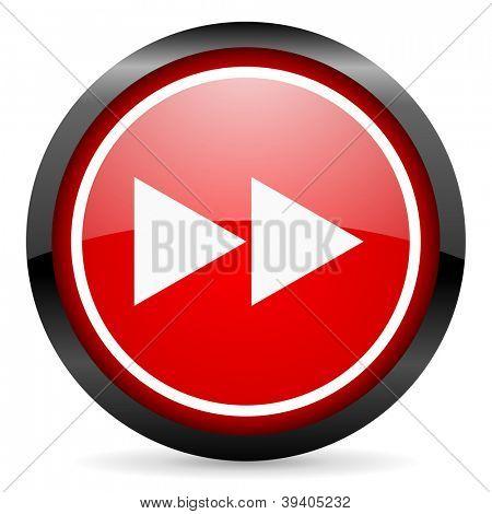 Scroll Runde rotes glänzendes Symbol auf weißem Hintergrund