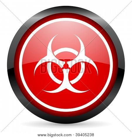 virus round red glossy icon on white background
