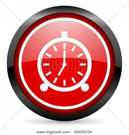alarm clock round red glossy icon on white background