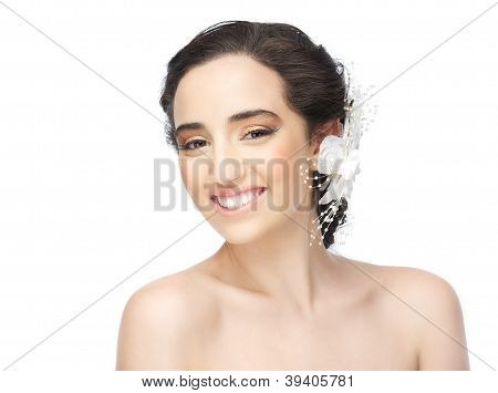 Smiling Bride With Naked Shoulders