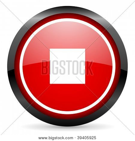 stop round red glossy icon on white background