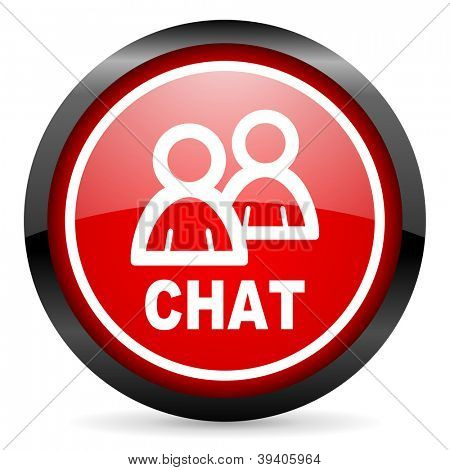 chat round red glossy icon on white background