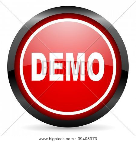 demo round red glossy icon on white background