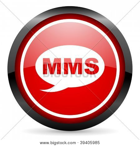 mms round red glossy icon on white background