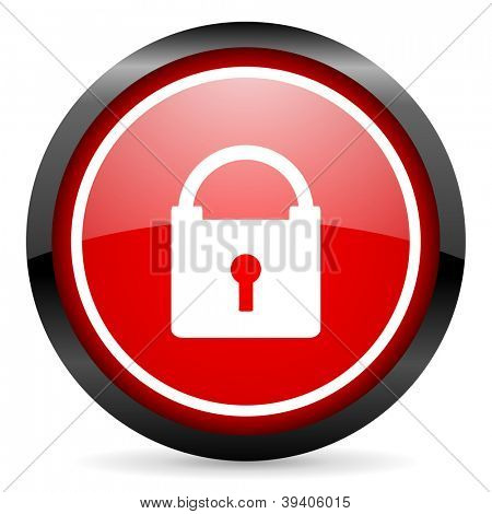 protect round red glossy icon on white background