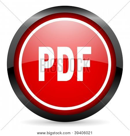 pdf round red glossy icon on white background