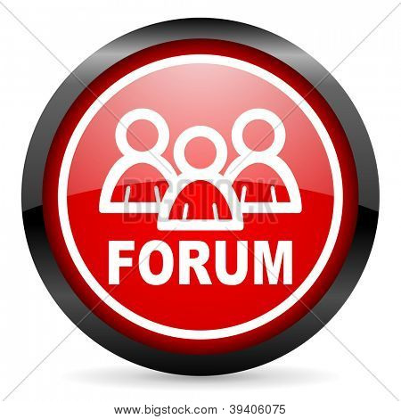 forum round red glossy icon on white background