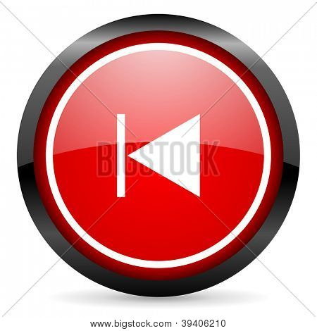 prev round red glossy icon on white background