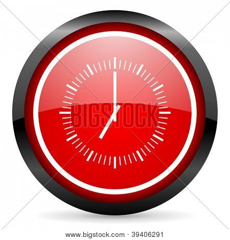 clock round red glossy icon on white background