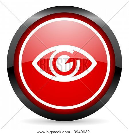 eye round red glossy icon on white background