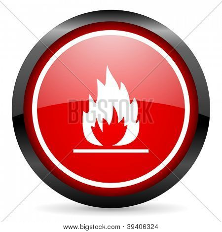 flames round red glossy icon on white background