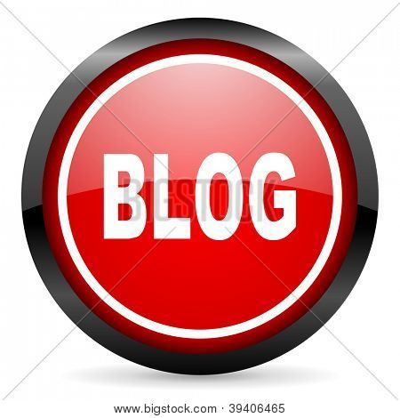 blog round red glossy icon on white background