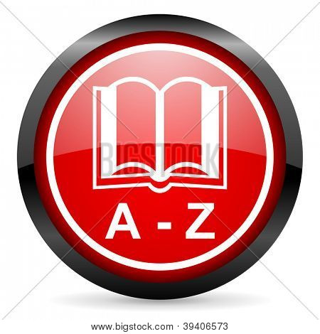 dictionary round red glossy icon on white background