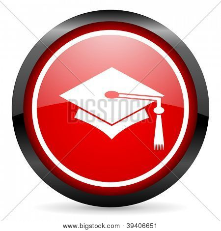 graduation round red glossy icon on white background