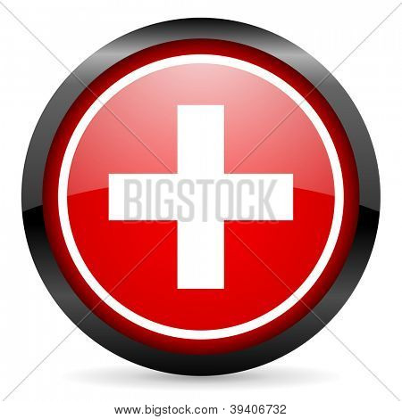 emergency round red glossy icon on white background