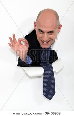 Businessman giving the OK sign