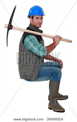 Building worker with pickaxe